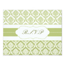 green damask  rsvp card