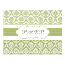 green damask  rsvp postcard