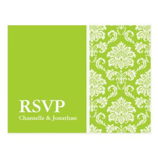 Green Damask RSVP Postcard