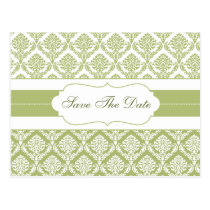 green damask save the date announcement postcard