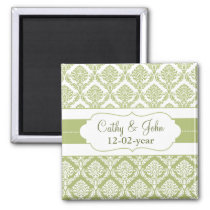 green damask Save the date magnet