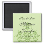 Green Damask Save the Date Magnet - Square Fridge Magnets