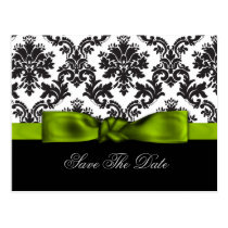 green damask Save the date Postcard