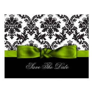 green damask Save the date Postcard