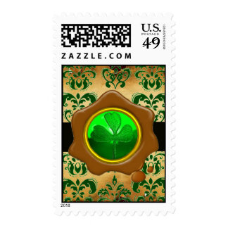 GREEN  DAMASK , SHAMROCK AND BROWN WAX SEAL POSTAGE