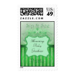 Green Damask Sip & See Baby Shower Postage Stamp