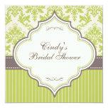 Green Damask & Stripe Bridal Shower Invitation