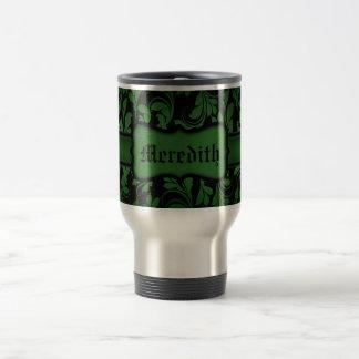 Green Damask Style Flourishes on Black Background 15 Oz Stainless Steel Travel Mug