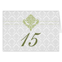 green damask table seating card