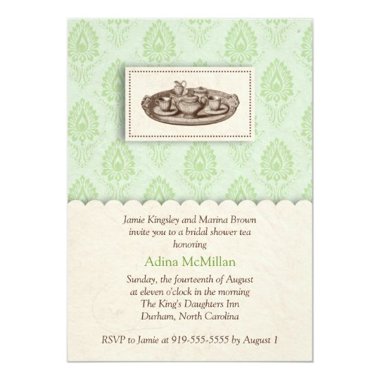 Green damask tea party invitation