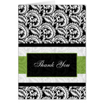 green damask Thank You Card