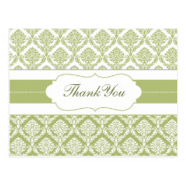 green damask ThankYou Cards