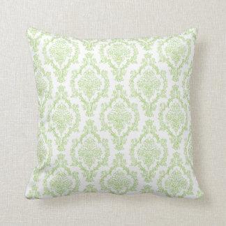 Green Damask Throw Pillow