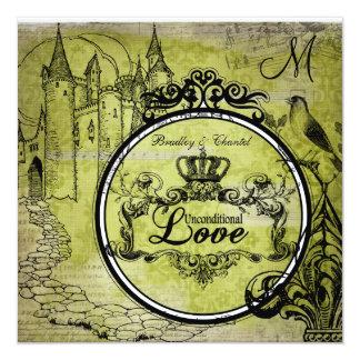 Green Damask Unconditional Love Wedding Invite