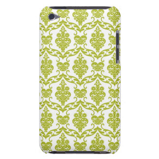 Green damask vintage flowers floral pattern flower iPod touch cases