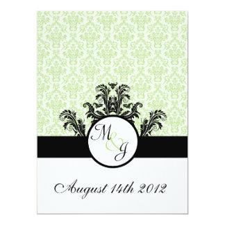 "Green Damask Wedding 6.5"" X 8.75"" Invitation Card"