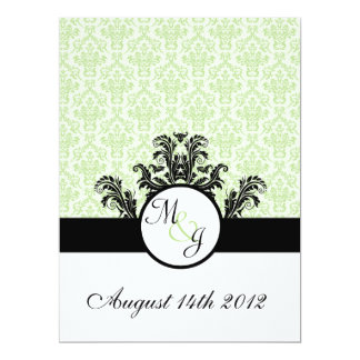 Green Damask Wedding 6.5x8.75 Paper Invitation Card