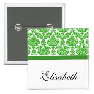 green damask wedding buttons