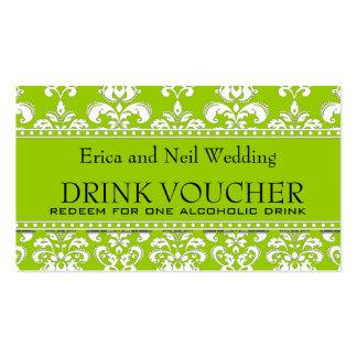 Green Damask Wedding Drink Voucher for Reception Business Card