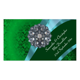 Green damask, wedding favor thank you tag business card
