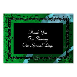 Green damask, wedding favor thank you tag large business card