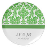 green damask wedding gifts party plate