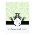 Green Damask Wedding 6.5x8.75 Paper Invitation Card