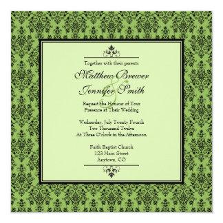 Green Damask Wedding Invitation with Monogram