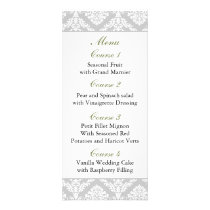 green damask Wedding menu