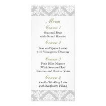 green damask Wedding menu