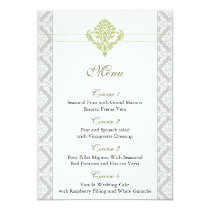 green damask wedding menu card