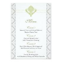 green damask wedding menu card