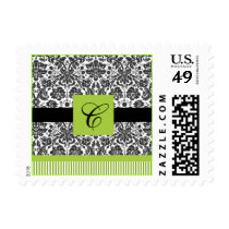 green  Damask Wedding Postage
