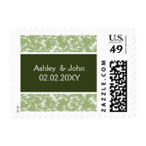 green damask ,wedding postage