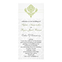 green damask Wedding program