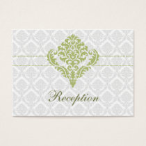 green damask wedding Reception Cards