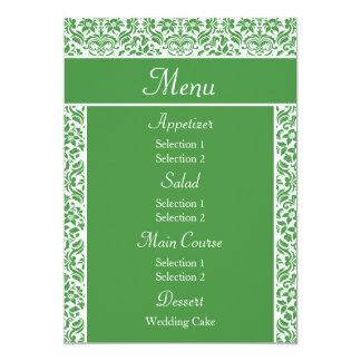 Green Damask Wedding Reception Dinner Menu Invites