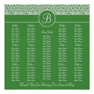 Green Damask Wedding Reception Seating Chart Poster
