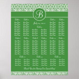Green Damask Wedding Reception Seating Chart Print