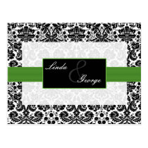 green  damask  Wedding rsvp card