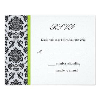 Green Damask Wedding RSVP Card
