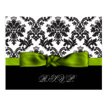 green damask wedding rsvp cards