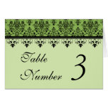 Green Damask Wedding Table Cards Cards