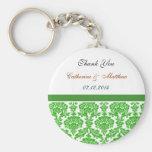 green damask wedding thank you key chain