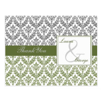 green damask wedding Thank You Postcard