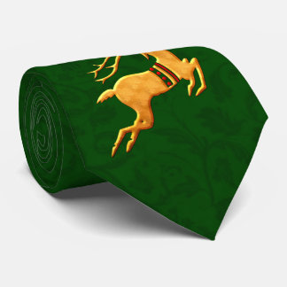 Green Damask with Gold Reindeer Tie