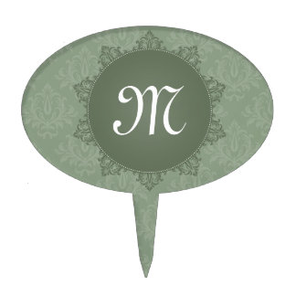 Green Damask with Initial Cake Pick
