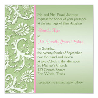 Green Damask with Pink Wedding Invitation