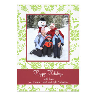 Green Damask With Red Holiday Photo Card Personalized Invitations