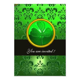 GREEN DAMASK WITH SHAMROCK ,black 5x7 Paper Invitation Card